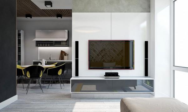 Le schéma de couleurs de la salle à manger basé sur la combinaison de la couleur de la paille avec des nuances sombres soutient le concept global