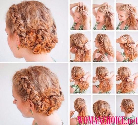 Прически на средние волосы с косами пошаговое фото