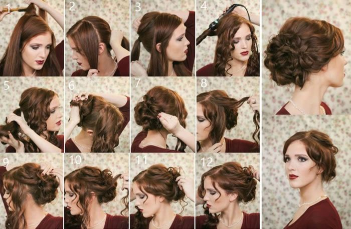 Как сделать быстро красивую прическу с средними волосами 553